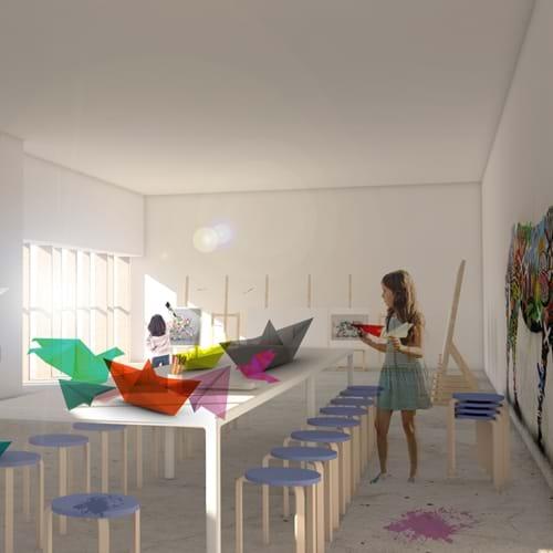 Illustration af nyt kunstcenter CC Studio
