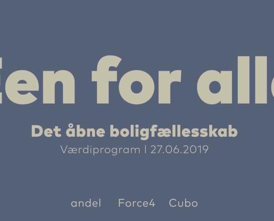 Forsiden af Een for Alle værdiprogram
